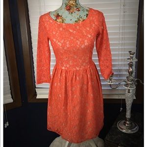 French Connection Coral Lace Dress